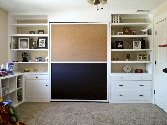 wall bed for kids playroom/guest room | paint wall side with chalkboard paint at bottom & builletin board up top. LOVE!!!
