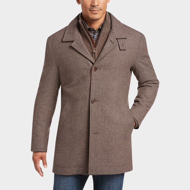 Joseph Abboud Tan Modern Fit Twill Car Coat Size XL