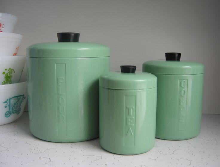 Jadeite green enamelware canisters.