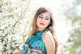 Ragazza, Fiori, Primavera, Occhi Blu
