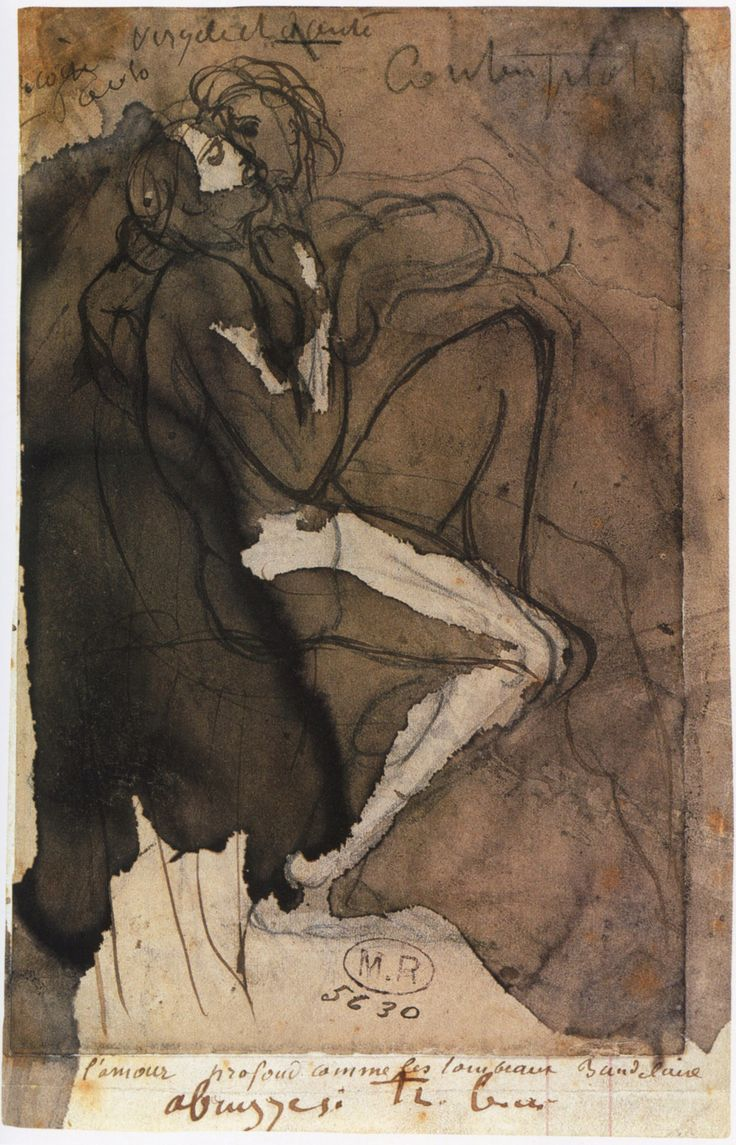 animus-inviolabilis:   The circle of loves, c. 1885, Auguste Rodin.  Annotated, top: Françoise Paolo / Virgile and Dante / Contemplations;  below:, on support: l'amour profond comme les tombeaux Baudelaire / abruzzesi très beau