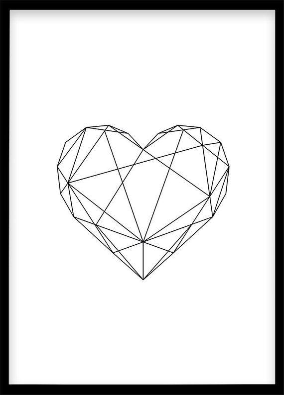 Herz Poster DIN A4, Dekoration Schwarz Weiß Poster Skandinavisch, Minimalistisch Geometrisches Plakat, Zuhause selber drucken