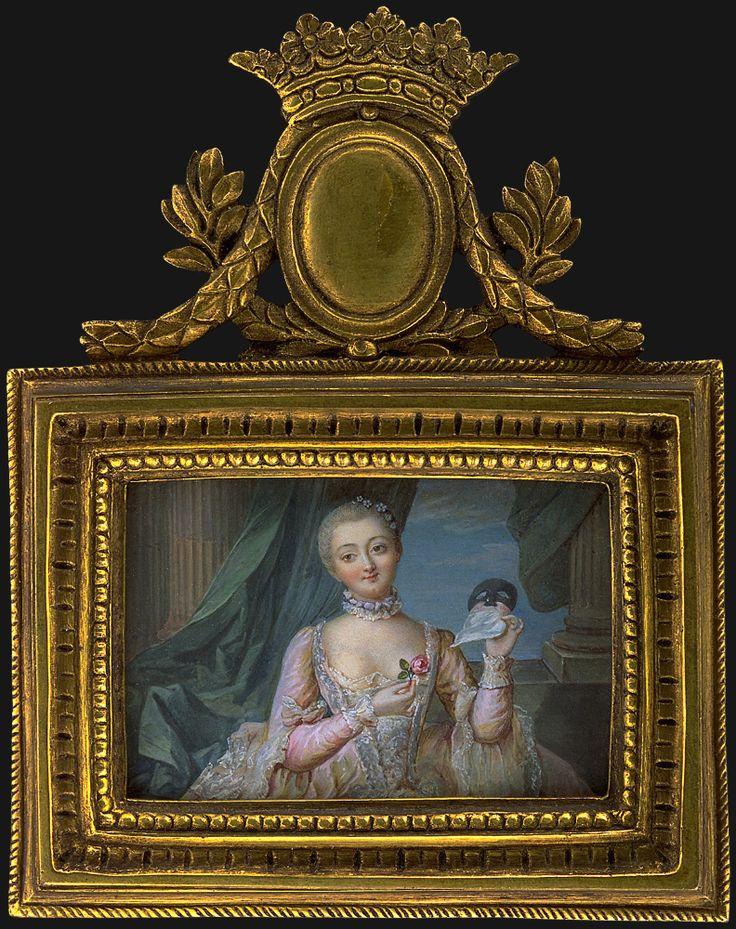 Portrait d'une femme avec un masque, 1750 école française