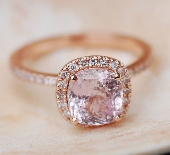 Rose gold engagement ring sapphire ring 2.51ct cushion sapphire 14k rose gold and Peach Diamond ring