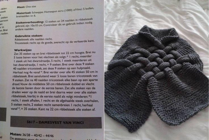 Gevlochten sjaal in ribbelsteek.