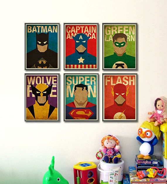 Decorate your kid's walls with these vintage, minimalist superhero posters. | 23 Ideas For Making The Ultimate Superhero Bedroom