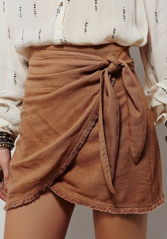 Coffee Plain Irregular Elastic Waist Vintage Linen Cotton Skirt