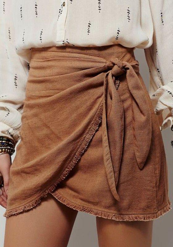 Coffee Plain Irregular Elastic Waist Vintage Linen Cotton Skirt