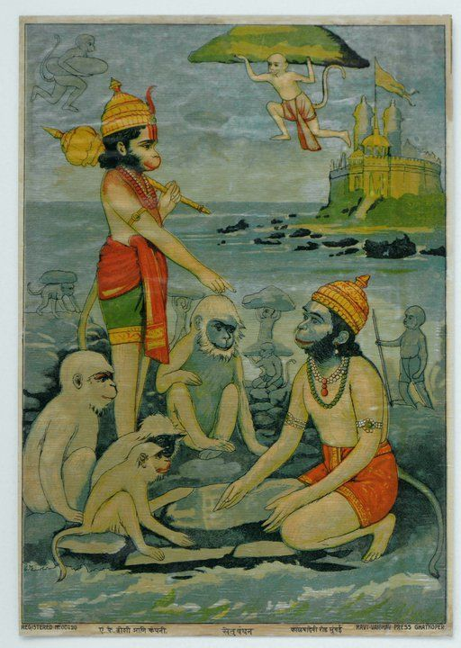 Hanuman carrying a hunk of Mount Everest, which fell down in Unawatuna forming Rumassala Hill containing rare medicinal herbs
