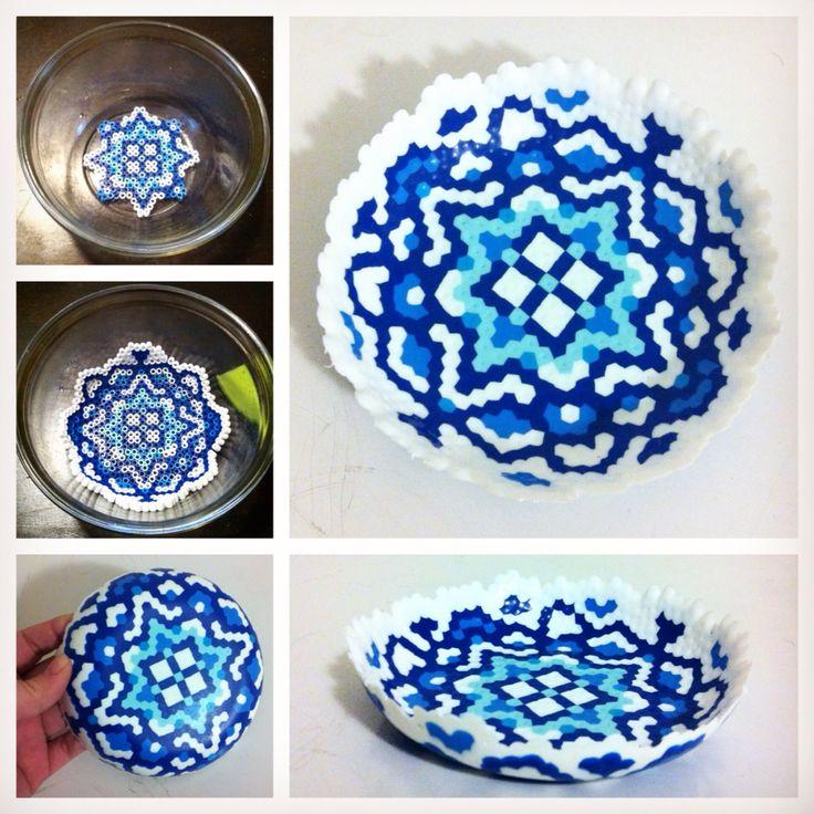 Perler bead bowl.                                                                                                                                                                                 More