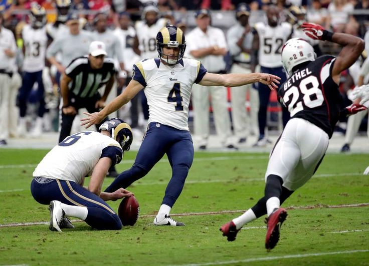 Rams vs. Cardinals Updated October 2, 2016:  17-13, Rams  -     Los Angeles Rams kicker Greg Zuerlein (4) kicks a field goal as teammate Johnny Hekker (6) holds against the Arizona Cardinals during the first half of an NFL football game, Sunday, Oct. 2, 2016, in Glendale, Ariz.