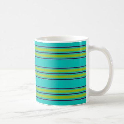 New Retro Purple and Green Stripes on Blue Coffee Mug - blue gifts style giftidea diy cyo