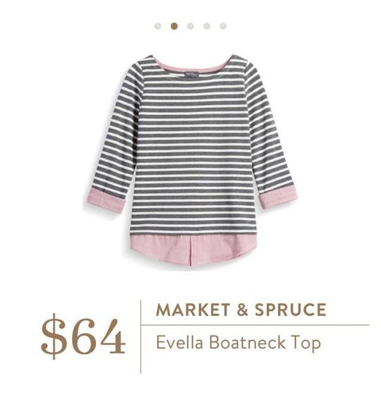 Stitch Fix: Market & Spruce Evella Boatneck Top - Gah! I love the grey stripes with the pink shirt tails! So cute.