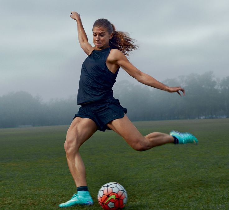 With the Olympics in August, Morgan's punishing training schedule typically brings her to the field twice a day. Morgan in Nike.