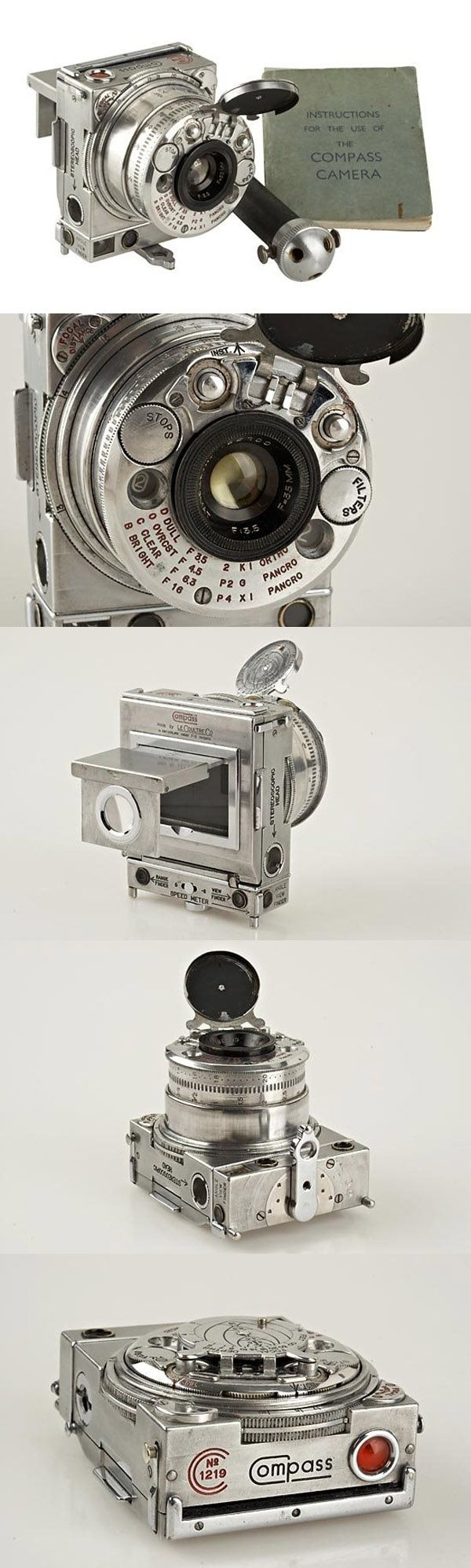 ♂ Compact 35mm rangefinder Camera c.1938 :: made by Jaeger LeCoultre for Compass Camera Ltd. from http://www.liveauctioneers.com/item/2668427