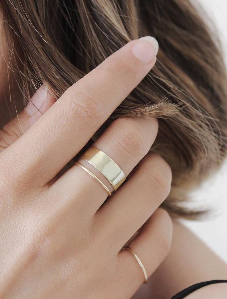 The thick stacker was a last minute addition to our collection, and we already can't imagine life without it. Stack this ring or wear it solo, above the knuckle or below, this solid gold piece is as v