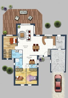 58 best plans maisons images on Pinterest Bungalow, Bungalows and - logiciel gratuit plan maison 3d