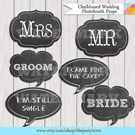 printable chalkboard wedding photobooth props chalkboard signs photo booth props signs for weddings receptions