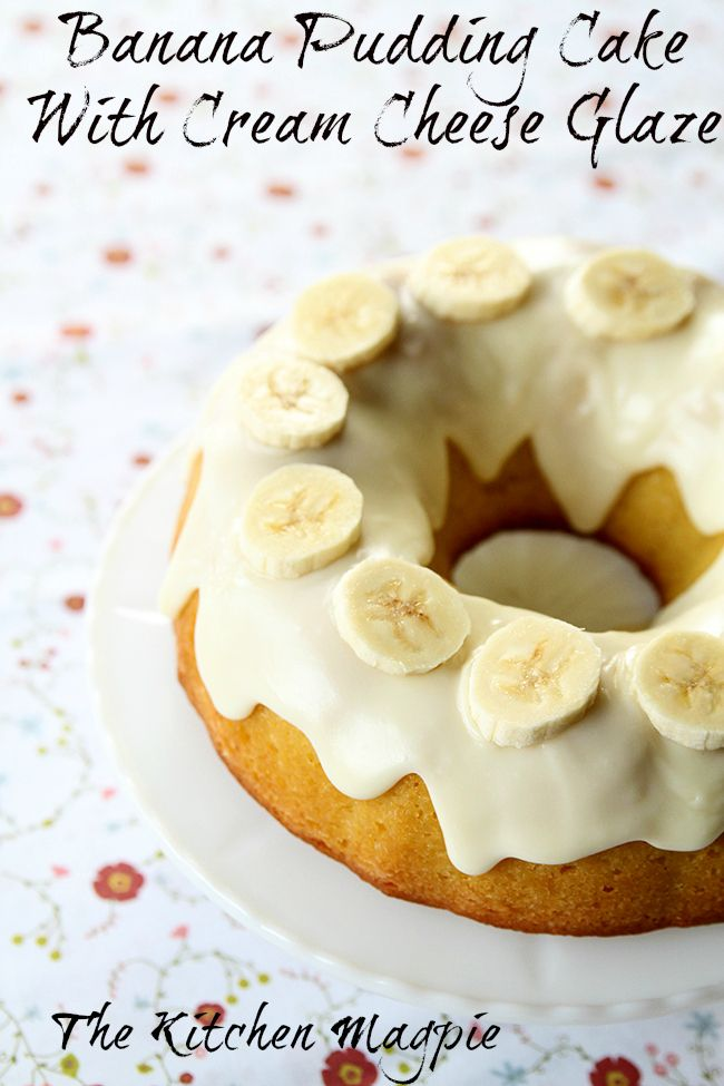 Banana Pudding Cake With Cream Cheese Glaze from @kitchenmagpie. A banana lovers dream come true!