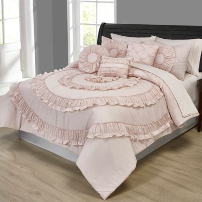 Jennifer Ruffled 10-Piece Queen Comforter Set In Pink
