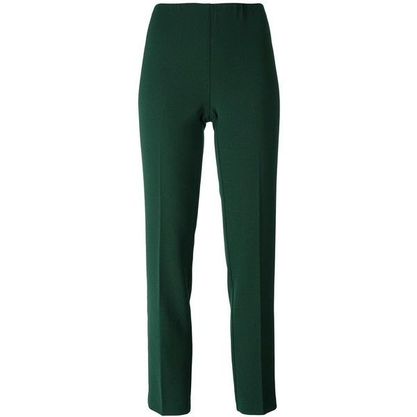 P.A.R.O.S.H. slim fit cropped trousers featuring polyvore, women's fashion, clothing, pants, capris, green, cropped capri pants, green trousers, slim fit trousers, slim trousers and cropped trousers