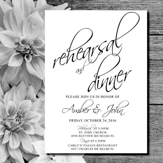 Rehearsal Dinner Invites, black and white, formal rehearsal invitations, modern, elegant, printable wedding invites.  *If you want a different color theme, just let me know, I can change it at no extra charge.  This listing is for a PRINTABLE single-sided invitation for you to print at home or print through a print shop.  This card comes as 5x7 or 6x4. Everything is sent through email only for you to print yourself. Nothing will be shipped to you, so no more waiting or paying for the post…