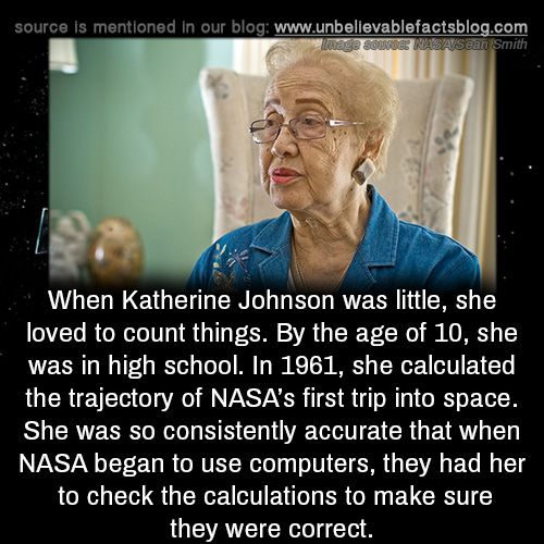 When Katherine Johnson was little, she loved to count things. By the age of 10, she was in high school. In 1961, she calculated the trajectory of NASA's first trip into space. She was so consistently accurate that when NASA began to use computers,...