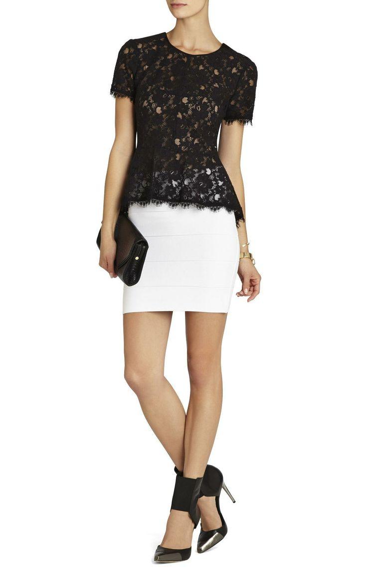 Peplum lace top, white mini skirt and lovely black heels