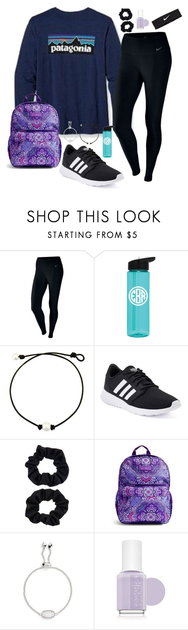 """work hard play hard"" by nbrooke1009 on Polyvore featuring Fraternity, NIKE, adidas, Accessorize, Vera Bradley, Kendra Scott and Essie"