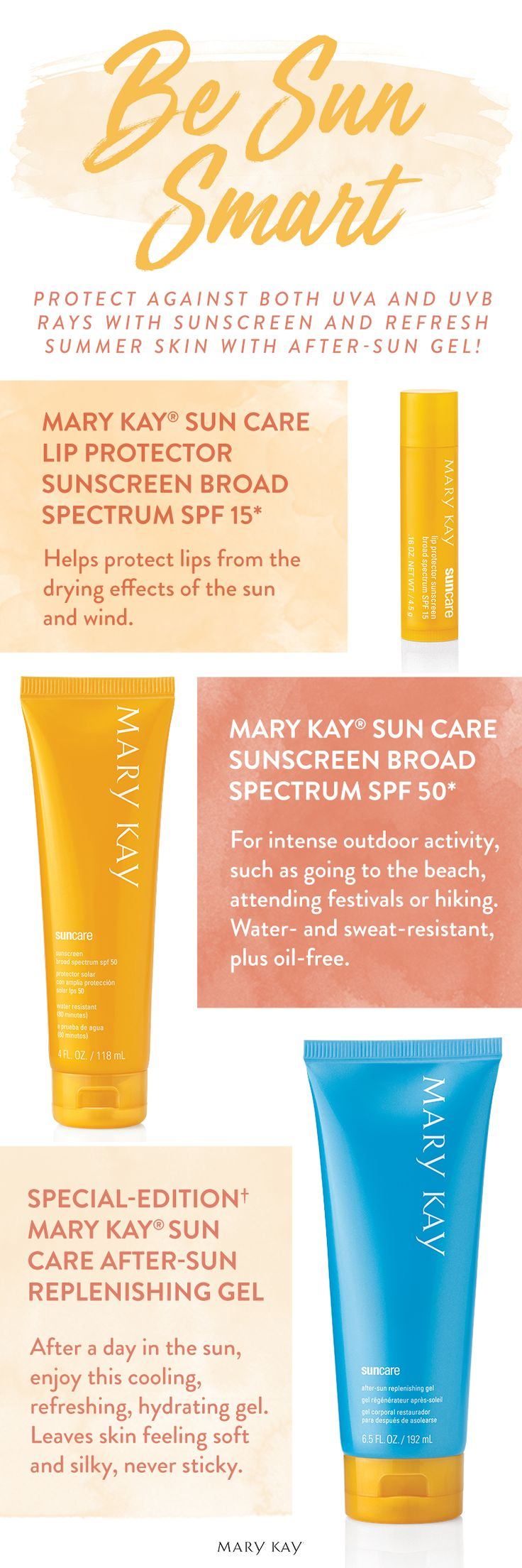Smart beauties know how to protect against both UVA and UVB rays with sunscreen, and to refresh summer skin with after-sun gel. | Mary Kay