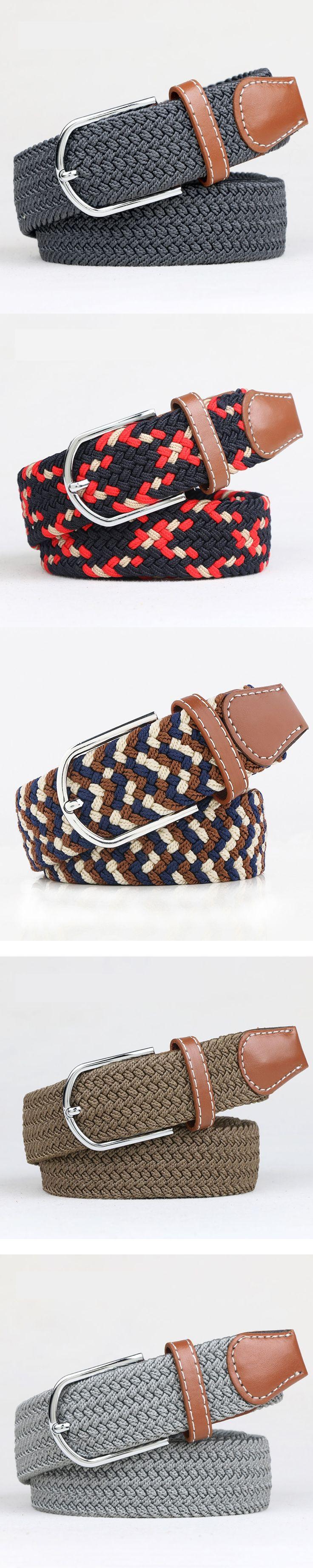 Width 3.3cm Men's and Women's Pin Buckle Elastic Canvas Woven Belts Unisex waistband All-match fashion belts Knitted canvas belt