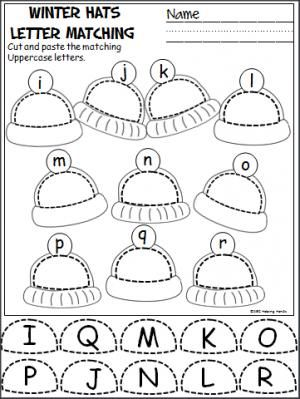 Free winter uppercase and lowercase letters cut and paste activity. Great activity for Pre-K and Kindergarten during December, January, or any winter month.