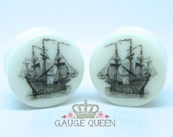 Delft Ship Plugs / Gauges. 4g /5mm 2g /6.5mm 0g by GaugeQueenPlugs