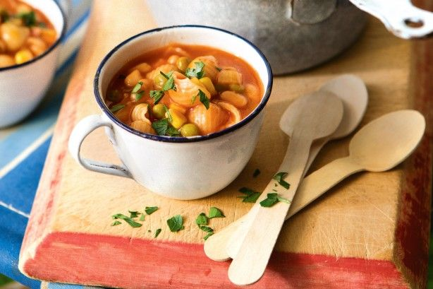 This hearty soup is based on canned foods, allowing you to store and transport the ingredients easily on your next camping trip.