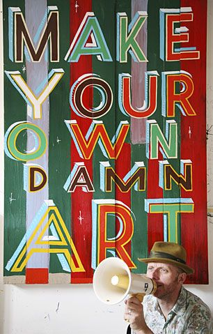 Bob and Roberta Smith, one of many artists, performers and thinkers who joined Friends of the Earths debate on the state of the world, at th...