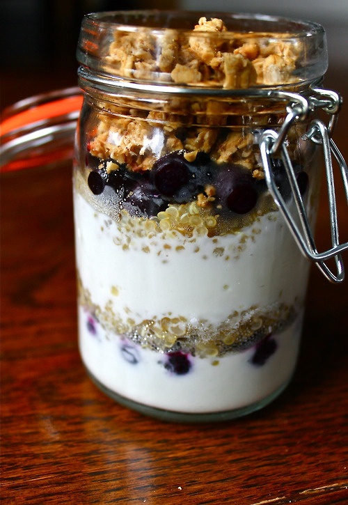 Blueberry Quinoa Parfait: Greek Yogurt layered with quinoa ...