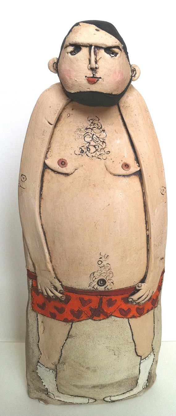 Sex Bomb male ceramic figure by emilyrowley on Etsy, £60.00