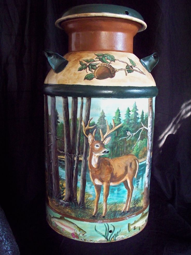 Hand painted milk can