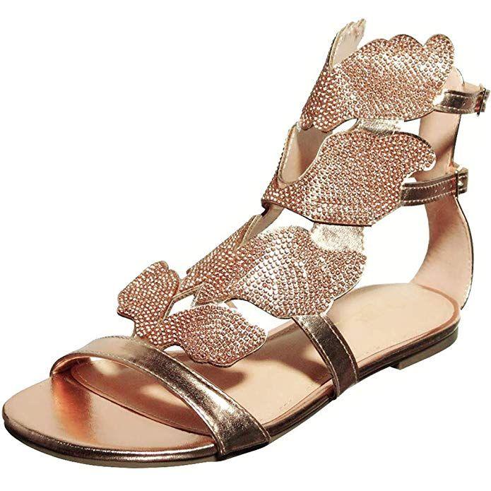 Womens Open Toe Low Heel Gladiator Sandal Rhinestone Leaf Flame Wings Roman Shoes Summer Comfy Flat Sandals
