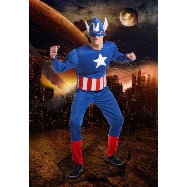 DisfracesMimo, disfraz de capitan america barato hombre talla m/l. Con este traje no pasarás desapercibido en Fiestas Temáticas, en Carnavales y seras un superheroe de comic fantastico. Este disfraz es ideal para tus fiestas temáticas de superheroes adulto.