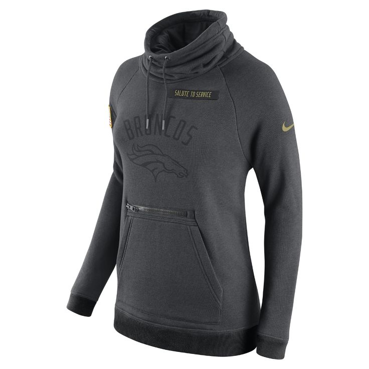 Nike STS Rally Funnel Neck (NFL Broncos) Women's Hoodie Size Medium (Black) - Clearance Sale