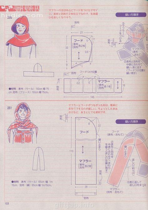 Hooded scarf. | ropa.ropa | Pinterest | Costura, Bufanda con capucha ...