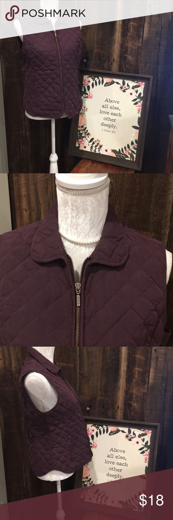 "Eddie Bauer Deep Plum Goose Down Vest Fully zippered quilted vest filled with goose down, deep plum in color. Two zippered exterior pockets, one interior pocket.  Approximate measurements are taken while garment is laying flat. Shoulder to hem: 24"" Armpit to armpit: 20"" Eddie Bauer Jackets & Coats Vests"