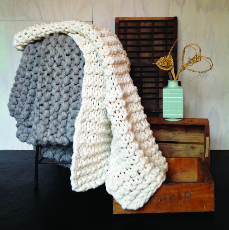Natural chunky knit throws made with 100% New Zealand Merino wool. xx