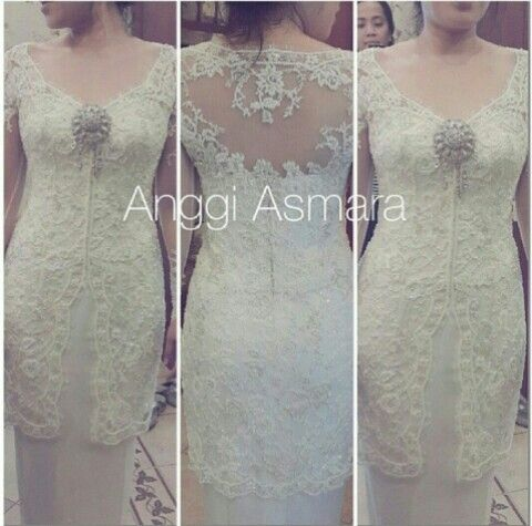 Broken White kebaya by Indonesian Designer ANGGI ASMARA