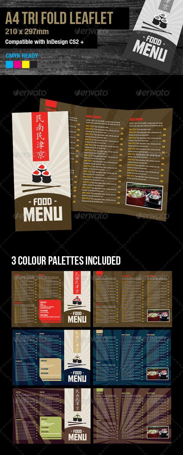 A4 tri fold food menu, 3 color versions - Food Menus Print Templates Download here : http://graphicriver.net/item/a4-tri-fold-food-menu-3-color-versions/3122413?s_rank=1438&ref=Al-fatih