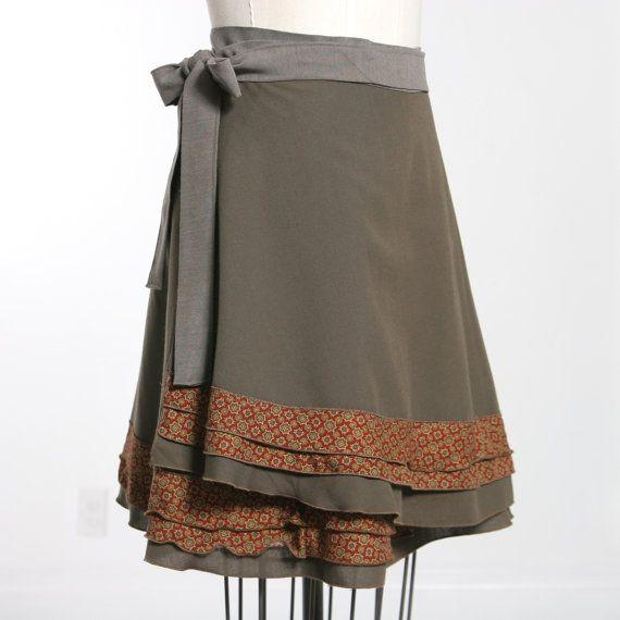 Womens Wrap Skirt / Knee Length Bias Wrap / by MiloCreativeStudios, $88.00