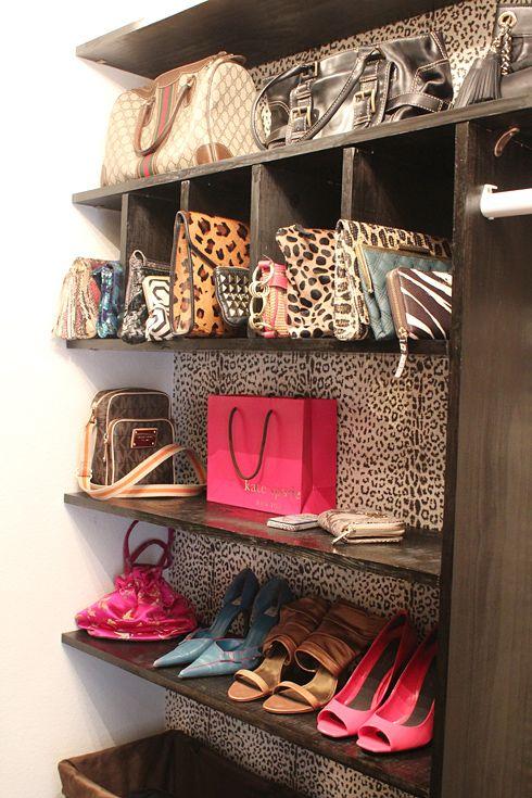Leopard print wallpaper inside closet!!