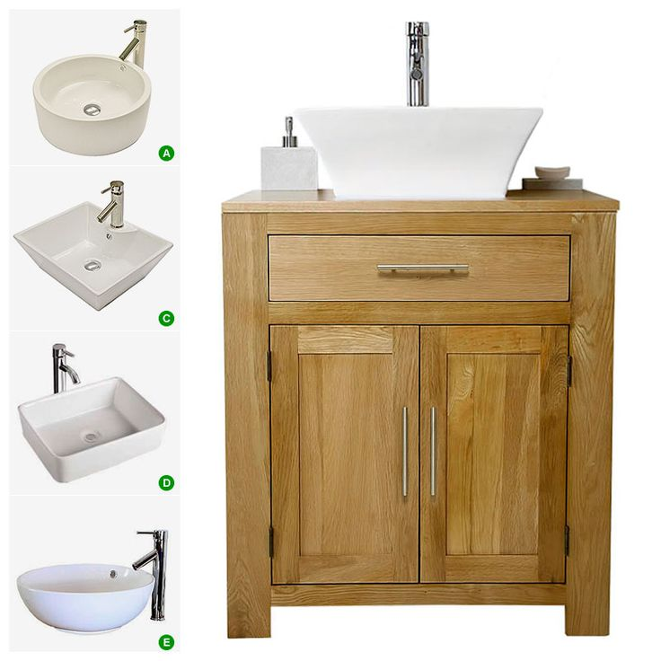 Solid oak vanity unit with basin sink 700mm bathroom for Bathroom cabinets 700mm