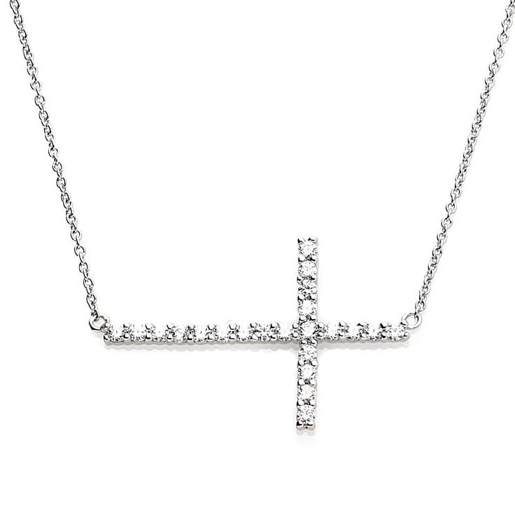 """.45ctw Absolute™ Sterling Silver Round Sideways Cross 16"""" Necklace"""